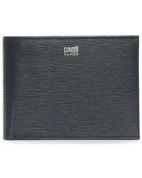 Class Roberto Cavalli - Men's Navy Leather Textured Wallet - Lyst