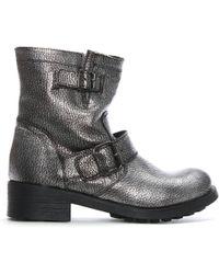 Manufacture D'essai | Silver Metallic Leather Biker Boots | Lyst