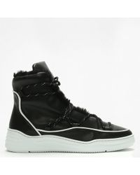 Albano - Arias Black Leather Fur Trim Moon Boots - Lyst