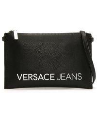 Versace Jeans - Flock Black Pebbled Clutch Bag - Lyst