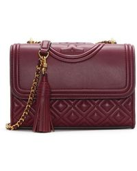 Tory Burch - Fleming Small Convertible Imperial Garnet Leather Shoulder - Lyst