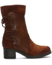 Moda In Pelle - Galene Tan Leather Lace Back Calf Boots - Lyst