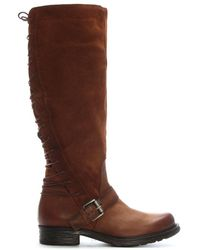 Moda In Pelle - Galene Tan Leather Lace Back Knee Boots - Lyst