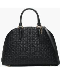 COACH - Quinn Black Signature Leather Satchel Bag - Lyst