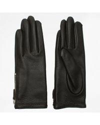 Agnelle - Araxie Brown Leather Zip Detail Gloves - Lyst