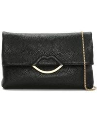 Lulu Guinness - Issy Half Covered Lip Black Grainy Leather Cross-body Bag - Lyst