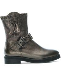Lola Cruz - Ennui Bronze Leather Whipstitch Biker Boots - Lyst