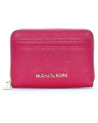 Michael Kors - North South Ultra Pink Leather Money Case - Lyst