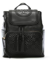 Tory Burch - Fleming Black Leather Quilted Logo Backpack - Lyst