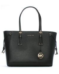 Michael Kors - Voyager Black Saffiano Leather Tote Bag - Lyst