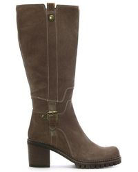 Shoon - Taupe Suede Contrast Stitch Knee Boots - Lyst