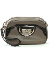 Class Roberto Cavalli - Coco Taupe Leather Clutch Bag - Lyst