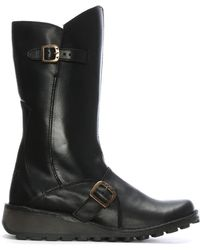 Fly London - Mes Black Leather Low Wedge Calf Boots - Lyst