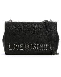 Love Moschino - Basset Medium Black Studded Logo Shoulder Bag - Lyst
