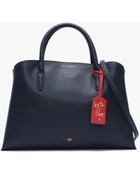 Lulu Guinness Emma Navy & Classic Red Grainy Leather Work Bag - Blue