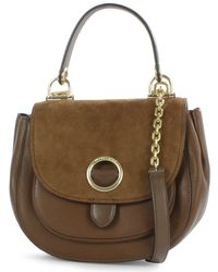 Michael Kors - Isadore Medium Dark Caramel Suede & Leather Messenger Bag - Lyst