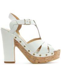 Donna Più - White Leather Studded Platform Sandals - Lyst