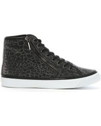 Emporio Armani - Black Leopard Shimmer High Top Trainers - Lyst