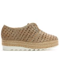 Donna Più - Sherlington Beige Leather Lace Up Woven Flatform Espadrilles - Lyst