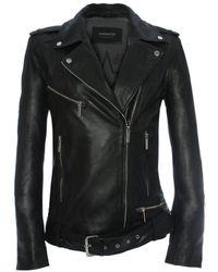 Oakwood - Music Oversized Black Leather Biker Jacket - Lyst