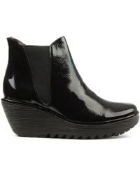 Fly London - Woss Black Patent Leather Wedge Ankle Boot - Lyst