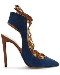 Phio Myo - Dakota Lace Up Blue Suede Contrast Shoe Boots - Lyst
