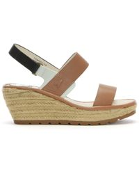 Fly London - Ekan Tan Leather Two Strap Wedge Espadrille Sandals - Lyst