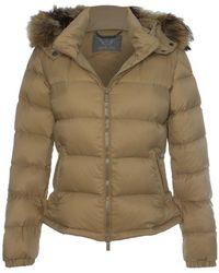 Daniel - Taupe Fur Trim Hooded Short Jacket - Lyst