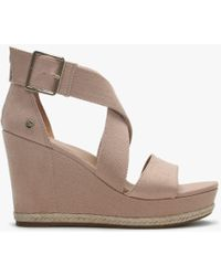 UGG - Calla Arroyo Textile Cross Strap Wedge Sandals - Lyst