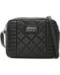 Armani Jeans - Quilted Black Eco Leather Shoulder Bag - Lyst