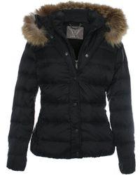 Daniel - Black Double Fastening Fur Trim Hooded Jacket - Lyst