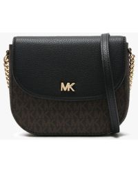 c65510865ebc4f Michael Kors - Mott Half Dome Brown & Black Pebbled Leather & Logo  Cross-body