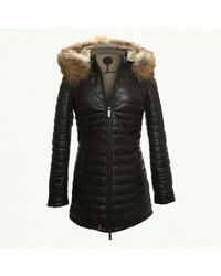 Oakwood - Popping Quilted Brown Leather Fur Trim Jacket - Lyst