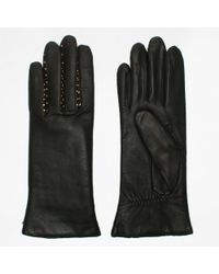Agnelle - Ines Studs Black Leather Gloves - Lyst