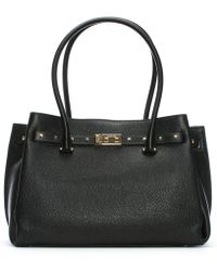 Michael Kors - Large Addison Pebbled Black Leather Tote Bag - Lyst