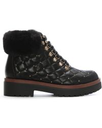 Moda In Pelle - Berrina Black Leather Studded Hiker Boots - Lyst