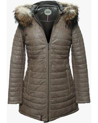 Oakwood Popping Quilted Beige Leather Fur Trim Jacket - Neutro