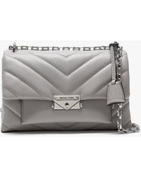 Michael Kors Medium Cece Quilted Pearl Grey Leather Shoulder Bag - Gray