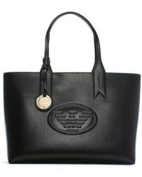 Emporio Armani - Black Textured Logo Shopper Bag - Lyst