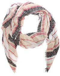Armani Jeans - Striped Black Logo Frayed Edge Scarf - Lyst