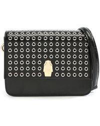 Class Roberto Cavalli - Milano Black Leather Grommet Embellished Shoulder Bag - Lyst