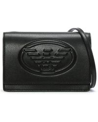 Emporio Armani - Cholita Black Textured Logo Cross-body Bag - Lyst
