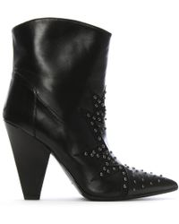 Daniel - Awesty Black Leather Star Studded Ankle Boots - Lyst