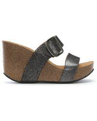 Daniel - Patrinia Pewter Metallic Leather Two Bar Wedge Sandals - Lyst