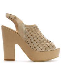 Donna Più | Beige Leather Woven Platform Sandals | Lyst