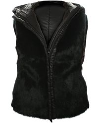 Oakwood - Black Premium Hooded Reversible Fur Gilet - Lyst