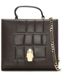 Class Roberto Cavalli - Panther Head Brown Leather Mini Cross-body Bag - Lyst