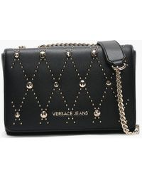 6e1311ac4bb Versace Jeans - Chita Black Studded Shoulder Bag - Lyst