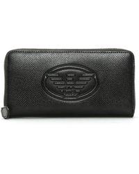 Emporio Armani - Black Textured Logo Zip Around Wallet - Lyst