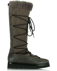 Daniel - Noble Grey Suede Shearling Lined Knee High Boot - Lyst